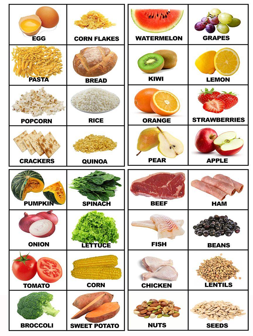 Food Printable Flashcards With Real Food Food Pinterest