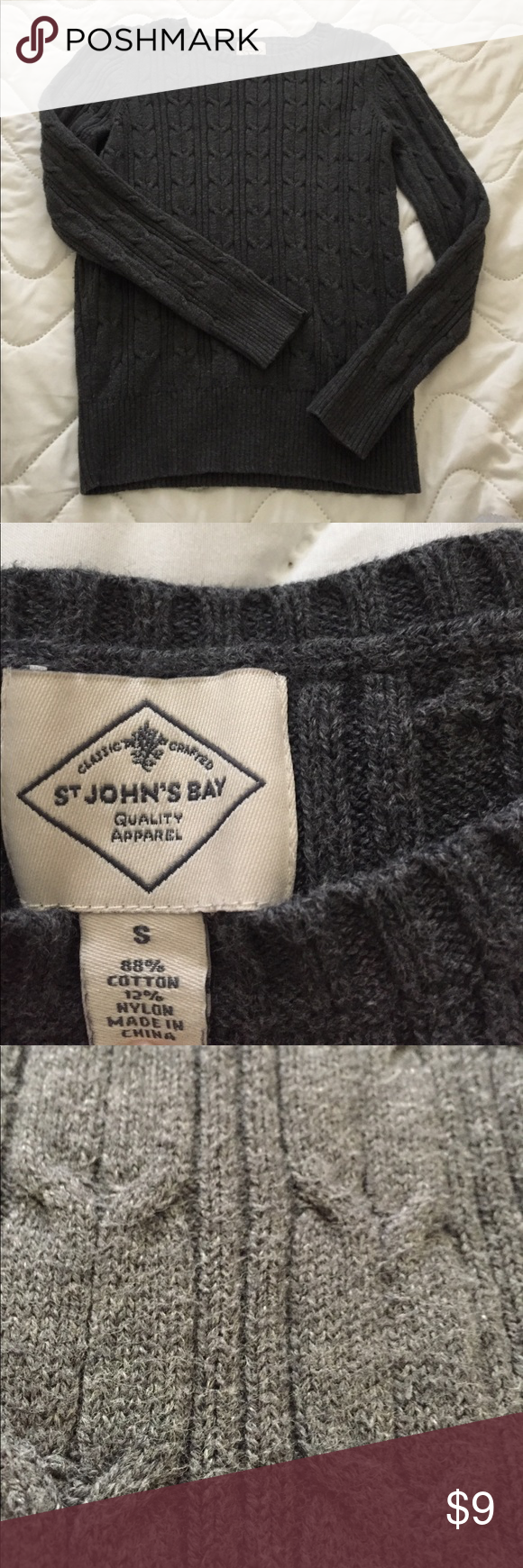 Grey cable knit sweater Very soft St. John's Bay sweater Sweaters Crew & Scoop Necks