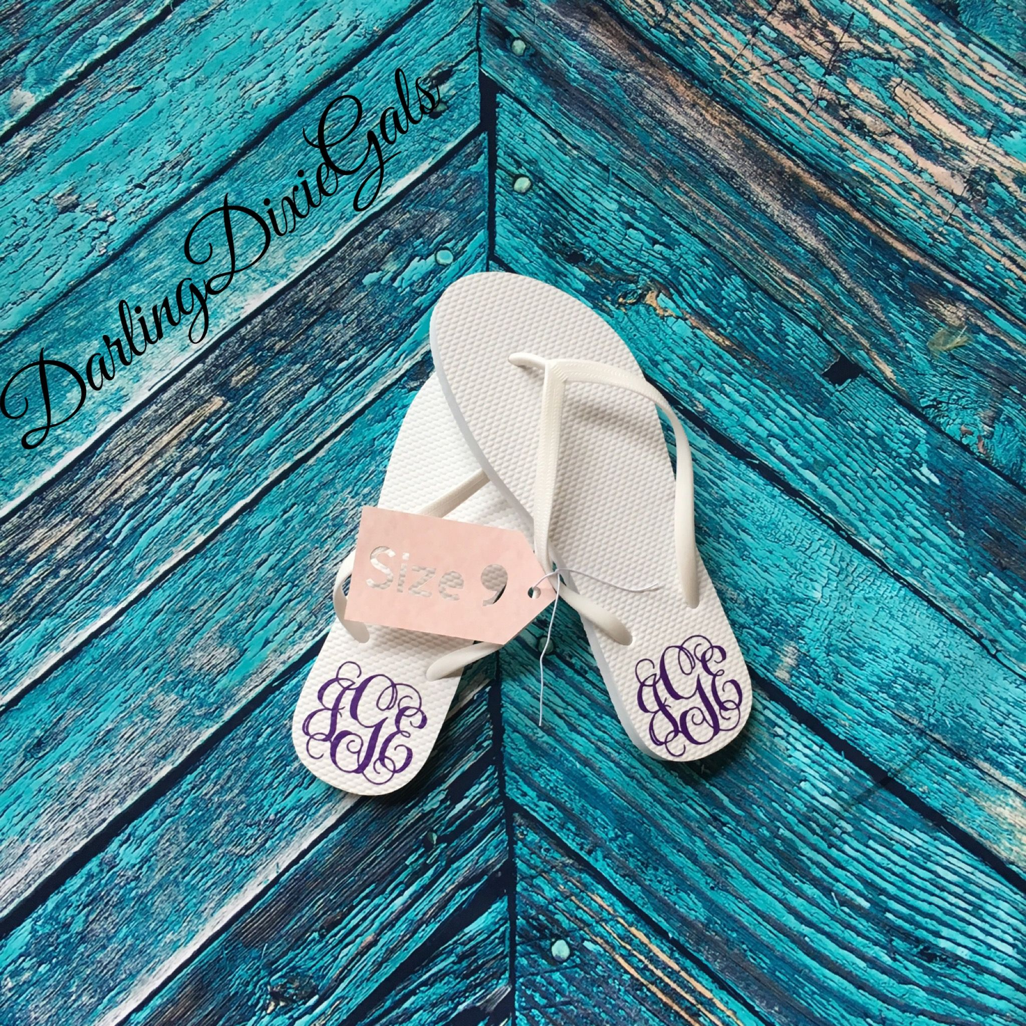 23a3b2b6a6ae43 3 letter monogram flip flops are a popular gift for the Bridal Party ...