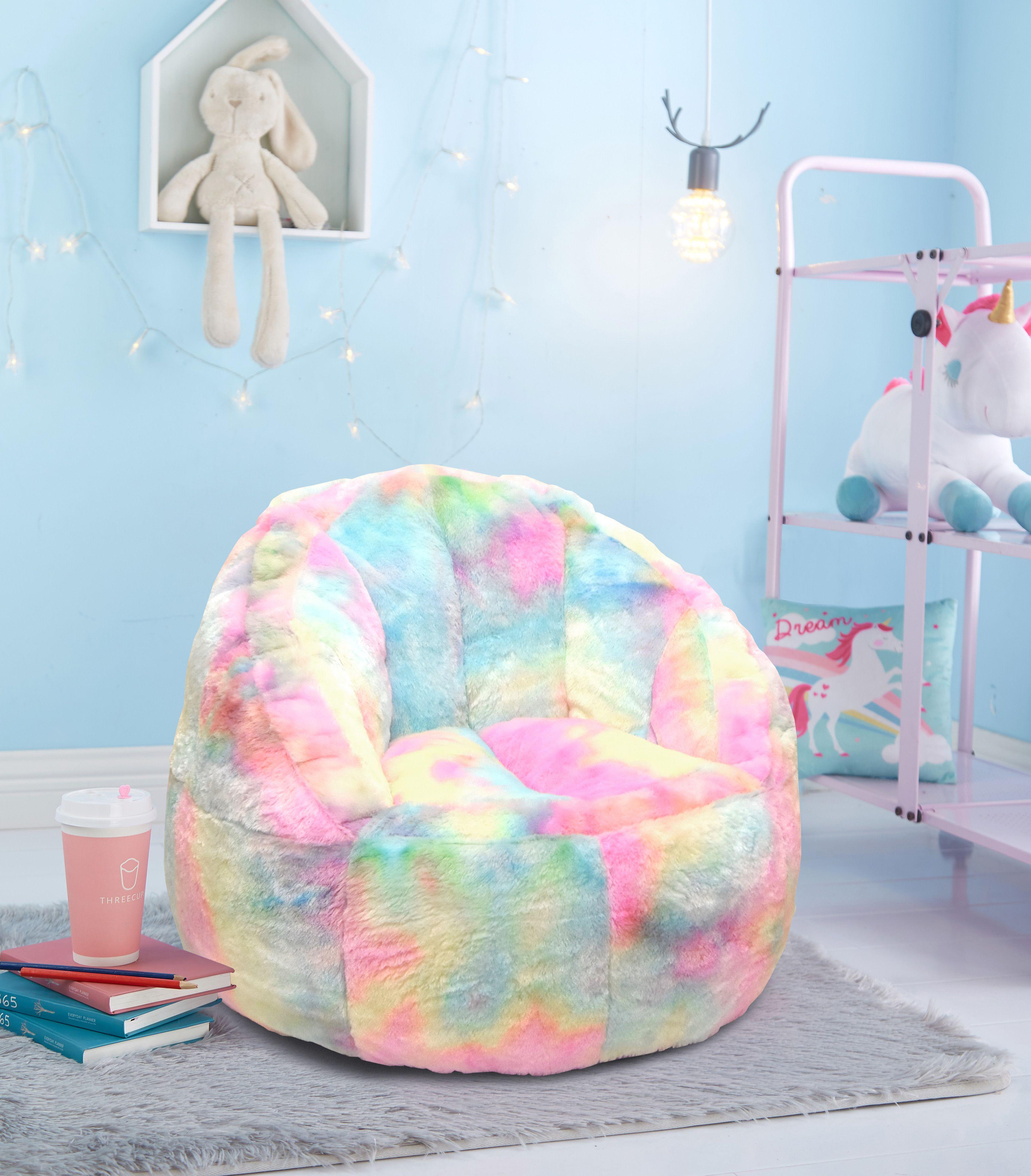 Heritage Club Rainbow Faux Fur Bean Bag Chair Pastel Tie Dye Walmart Com In 2020 Bean Bag Chair Small Bean Bag Chairs Bean Bag Chair Kids