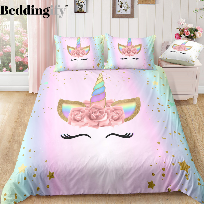 Dreaming Unicorn Lash Bedding Set Unicorn Bedroom Decor Unicorn Room Decor Girl Room