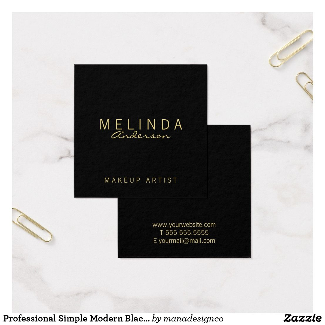 professional simple modern black and gold square business