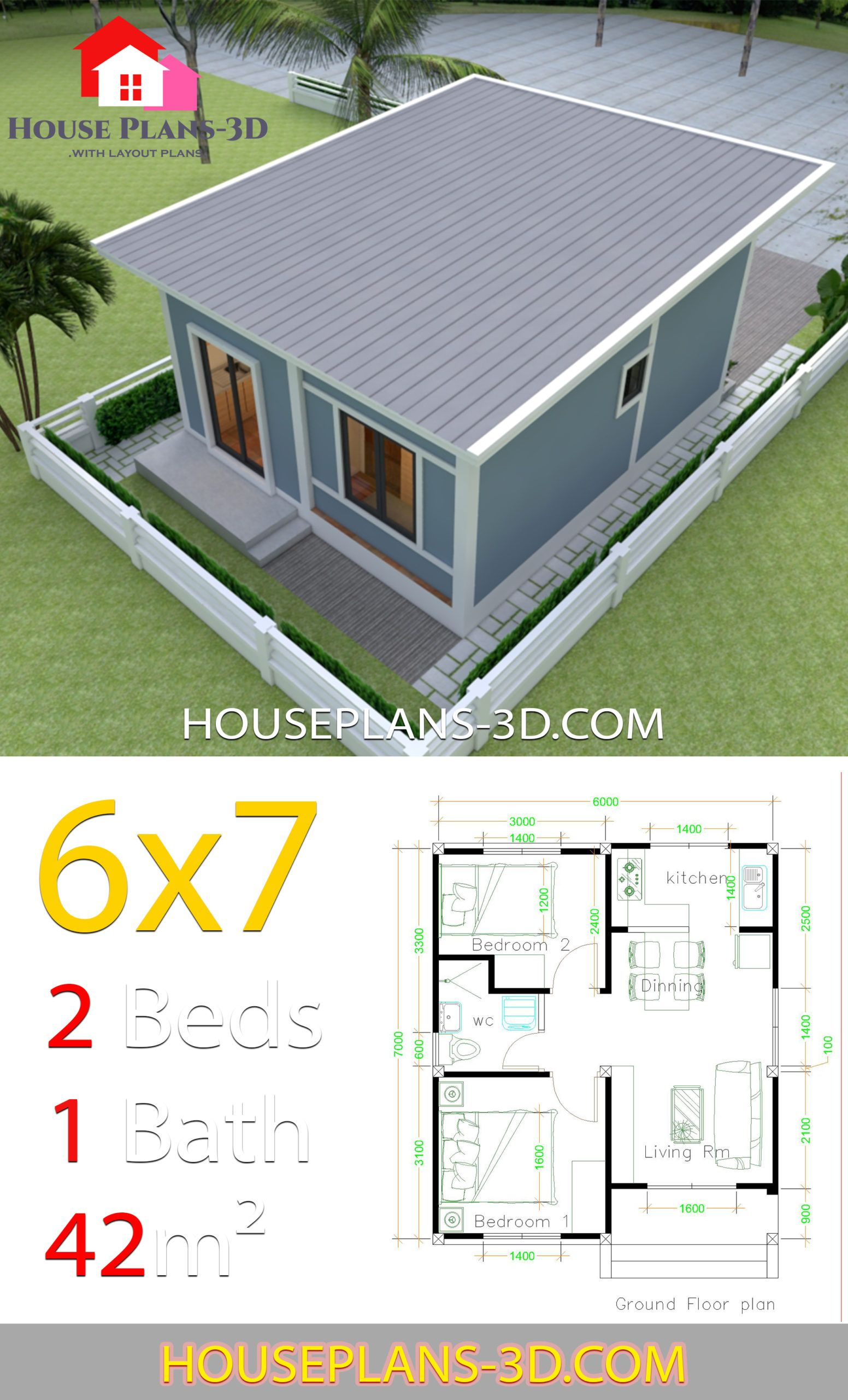 Simple House Plans 6x7 With 2 Bedrooms Shed Roof House Plans 3d House Plans Simple House Plans Simple House Design