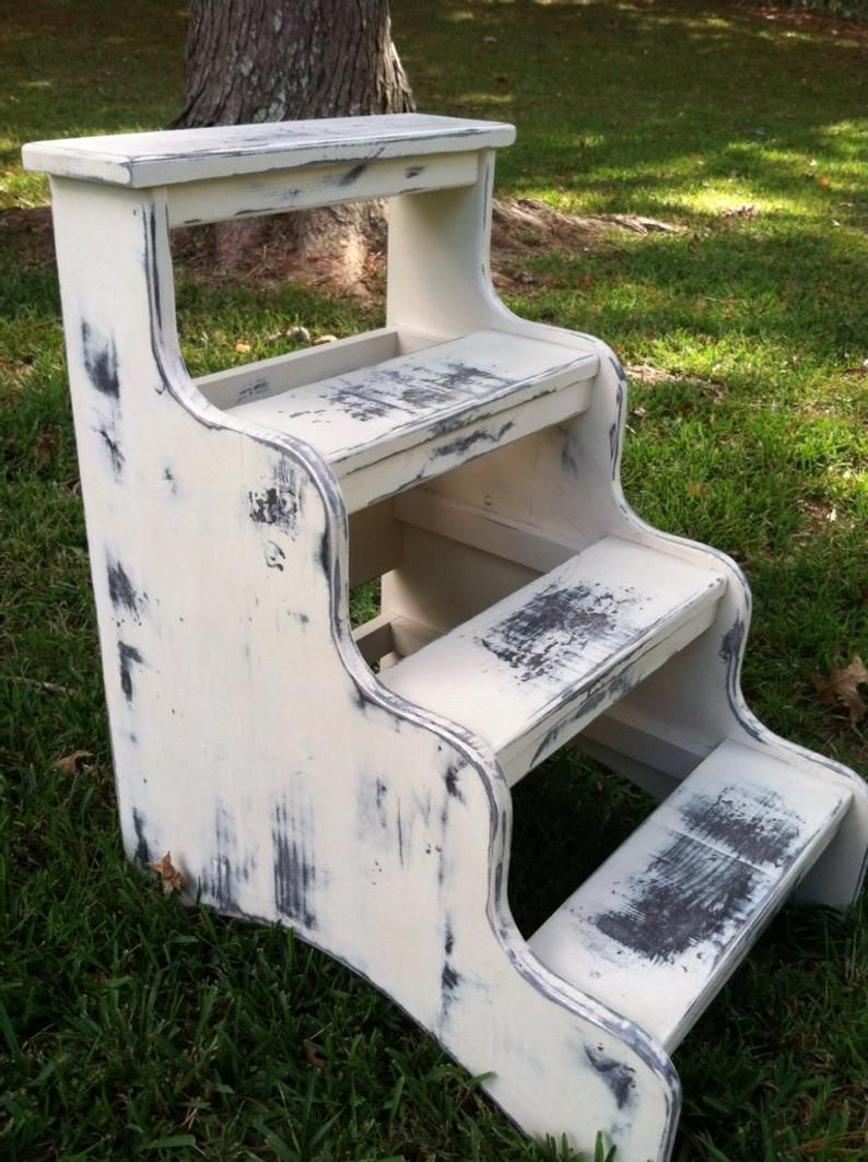 Bedside Step Stools For Adults: Stepstool For High Bed Dog Or Cat Or Adults Painted White