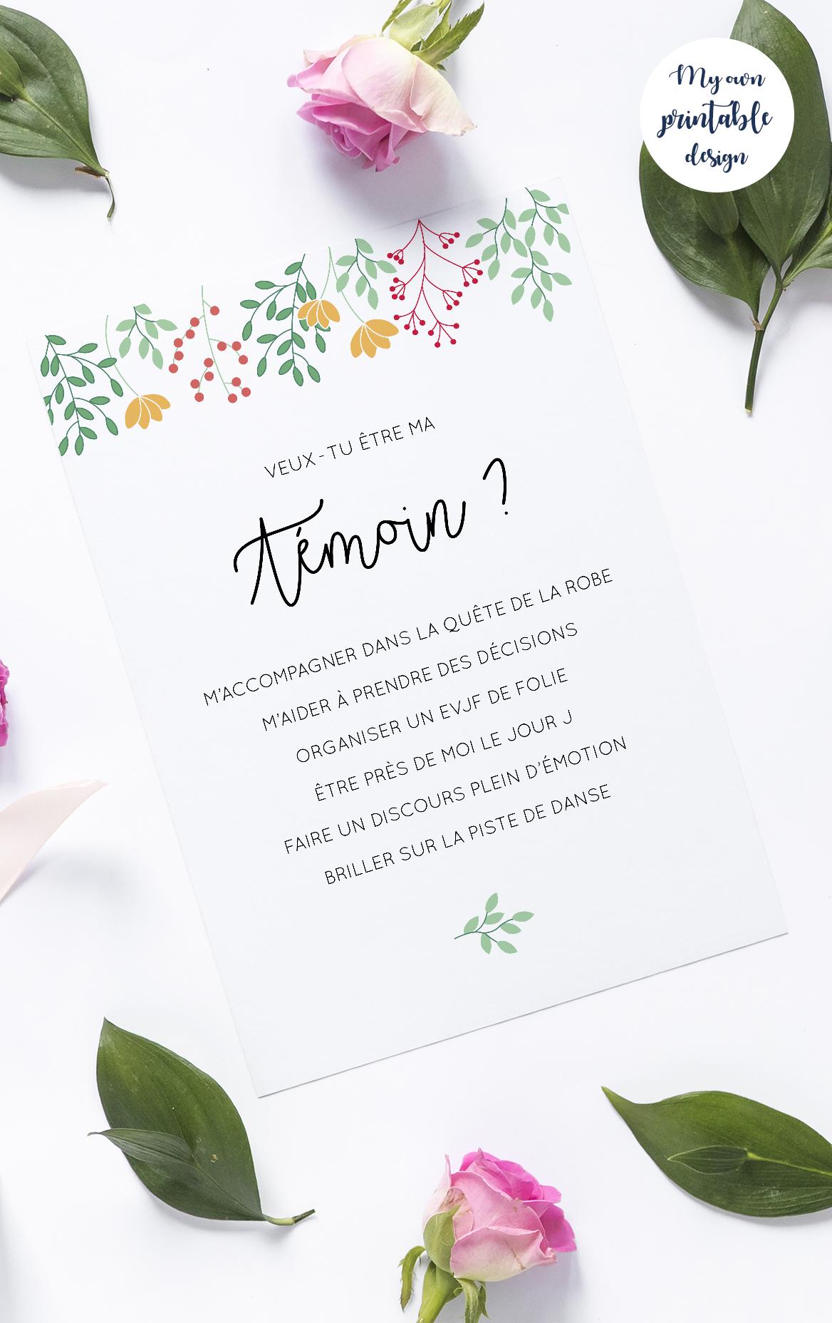 Carte demande témoin à imprimer – Mariage champêtre & bohème