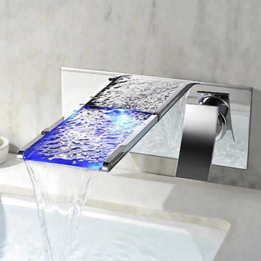 Sinda Modern Bathroom Color Chang Led Wall Mounted Waterfall Bath