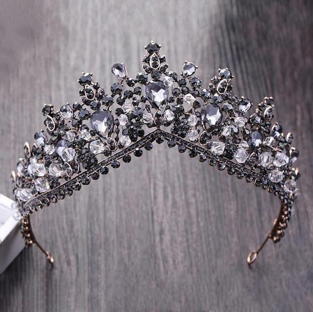 Vintage Black Rhinestone Pageant Crown Baroque Bridal Wedding Hair Jewelry