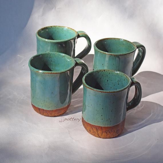 Pottery mug set, Ceramic mugs a set of 4 handled handmade cups #ceramicmugs