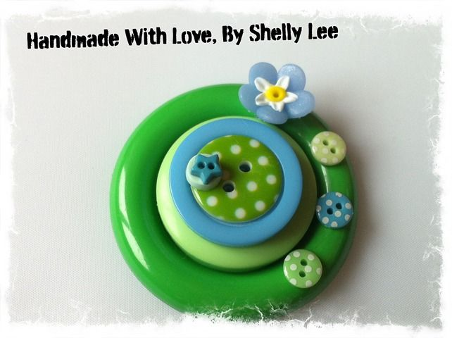 Handmade Large Button brooch, Green theme brooch. Free UK POSTAGE £7.80