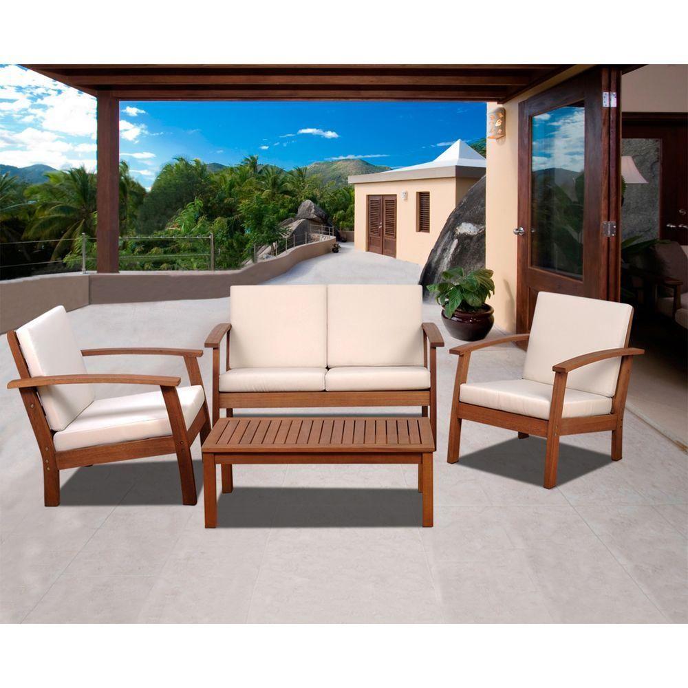Amazonia Murano 4Piece Eucalyptus Patio Conversation Set