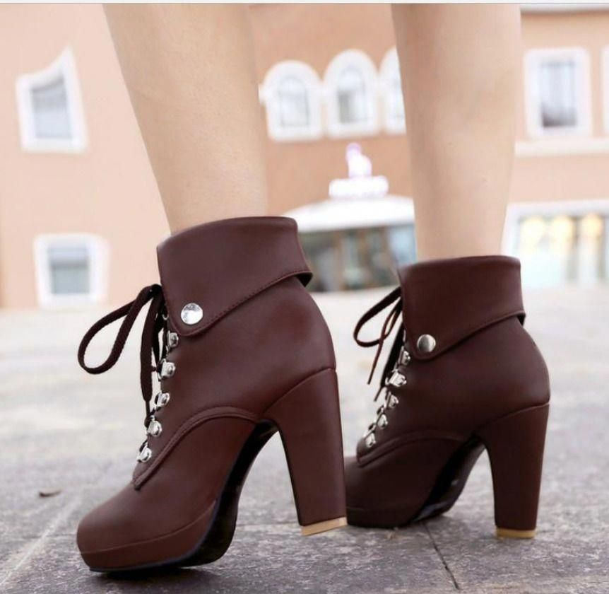 b8b17c079d1e Women Round Toe Cuffed Block Heels Metal Lace Up Cowboy Western Knight  Boots  fashion  clothing  shoes  accessories  womensshoes  boots  ad (ebay  link)   ...