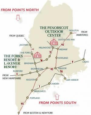 the forks maine map Maine Maps Directions The Forks Penobscot Base Camp Maine the forks maine map