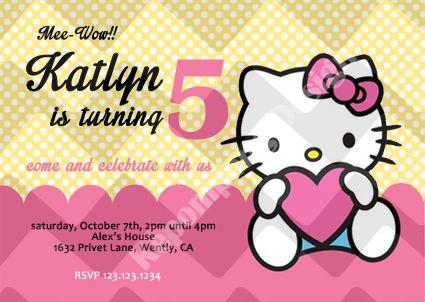 Hello Kitty Card 1 Birthday Invitation Card Kartu Undangan Ulang