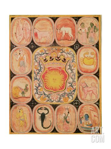 Eastern Zodiac Chart with Illustrations and Inscriptions of Signs in Singhalese Giclee Print at Art.com