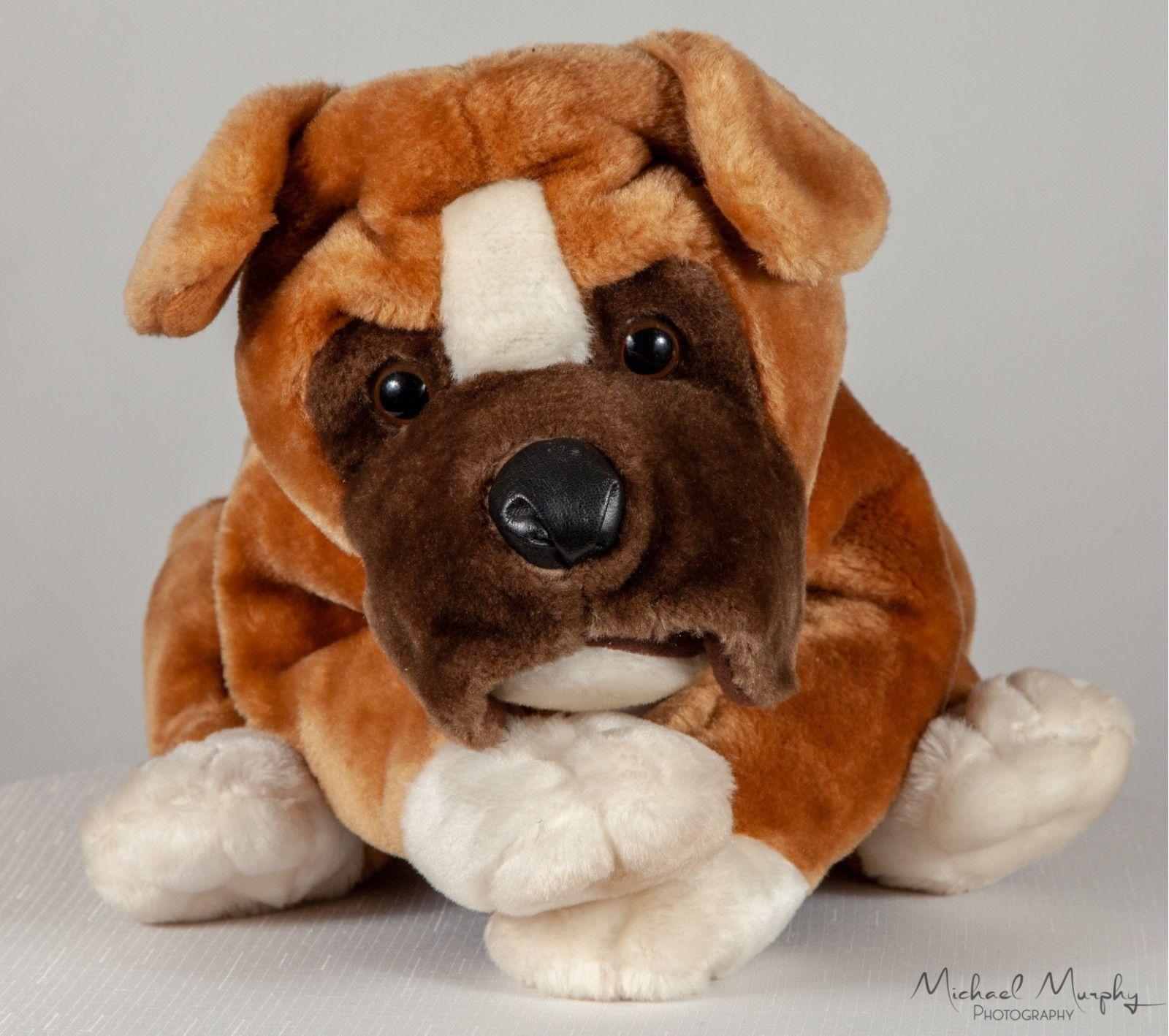 Large Boxer Puppy Dog Brown White Stuffed Animal Plush 20 White