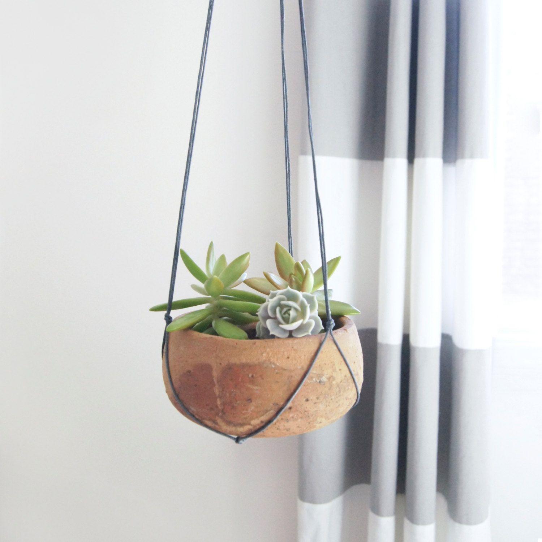 hanging planter vintage dark grey macrame plant hanger and pot