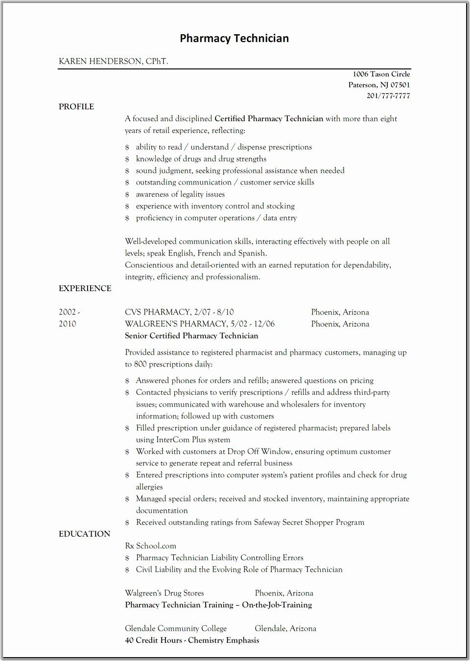 Pharmacy Technician Job Description Resume Lovely Sample