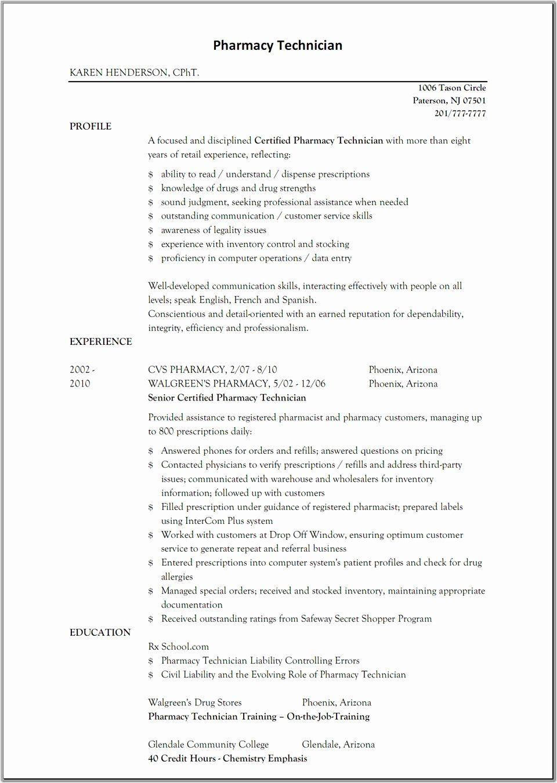 Pharmacy Technician Job Description Resume Lovely Sample Resume For Pharmacy Technician Pharmacy Technician Resume Examples Pharmacy Tech