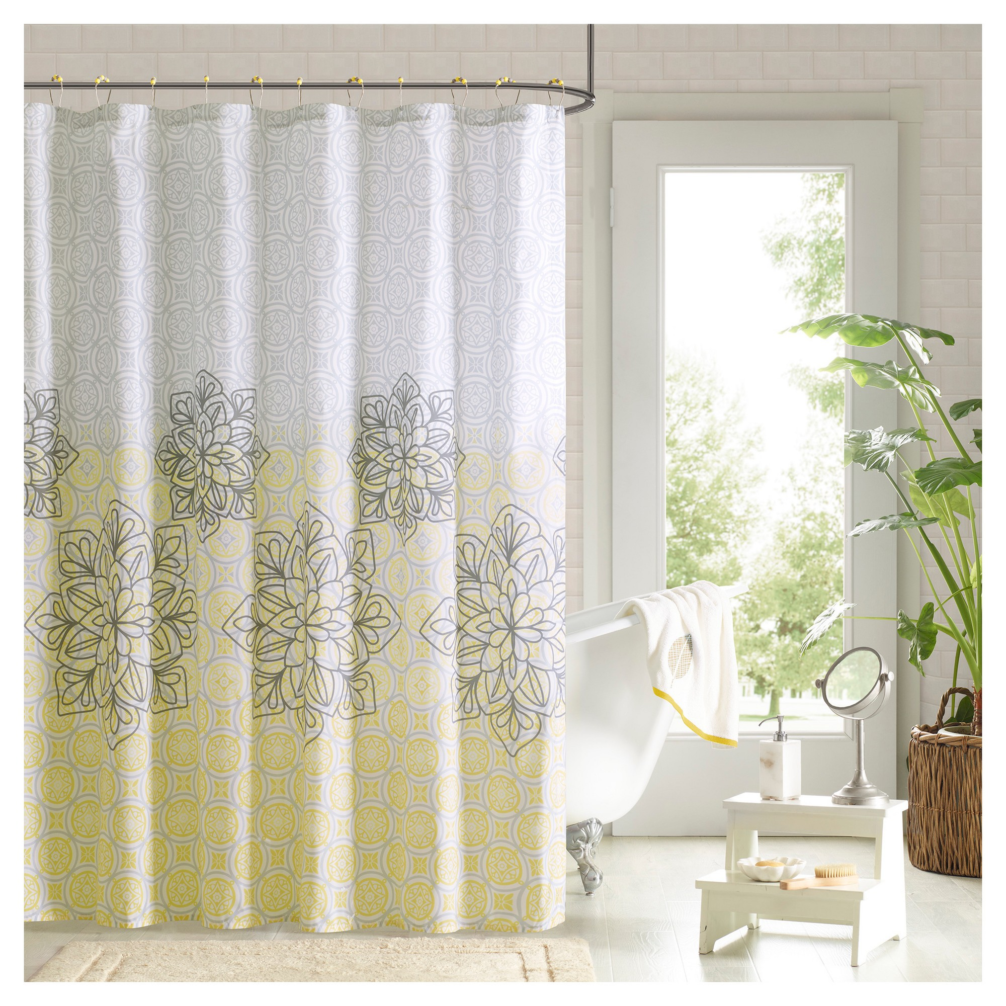 Shower Curtain And Hook Set
