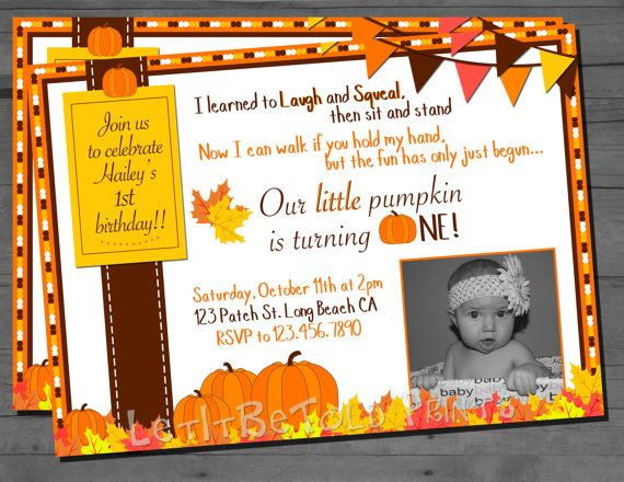 Fall Birthday Little Pumpkin Turning One by LetItBeToldPrints