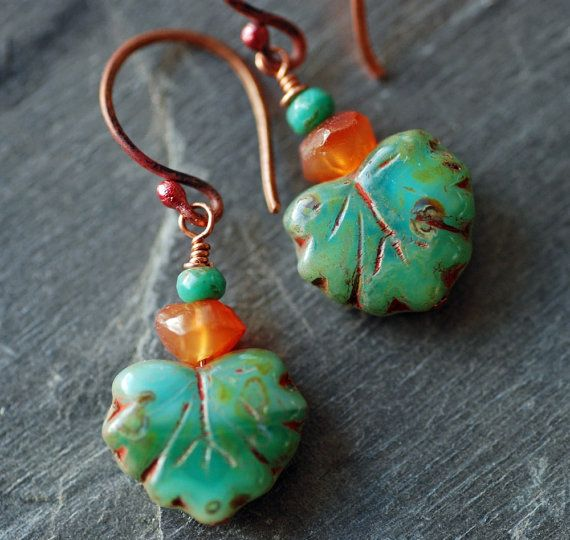 FREE SHIPPING  Turquoise Carnelian Maple Leaf by EntwyneDesigns