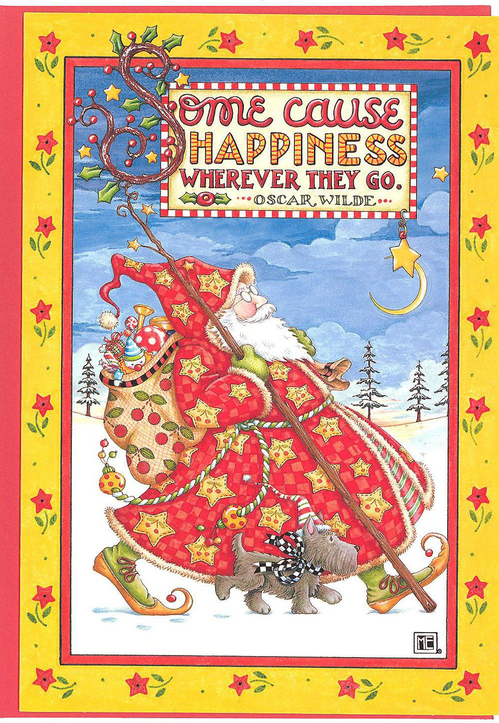 Mary Engelbreit-SOME CAUSE HAPPINESS WHEREVER-Christmas Card-NEW w ...