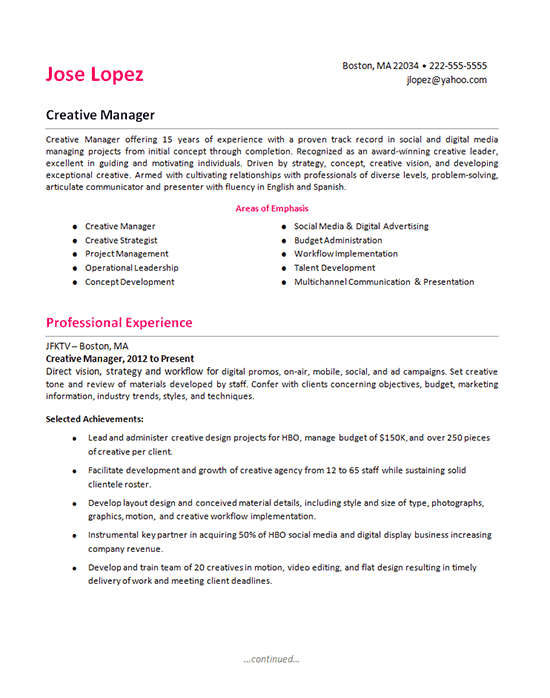 Creative Manager Project Manager Resume Resume Tips Resume Examples