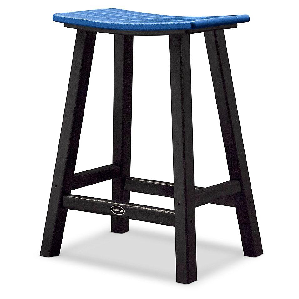 Polywood Contempo 24 Saddle Patio Bar Stool In Black Blue Patio