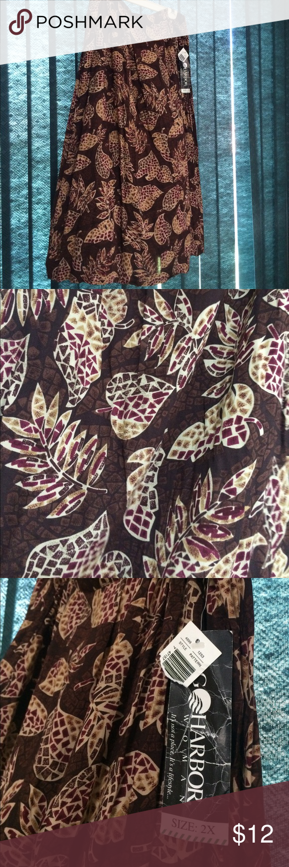 """NWT Skirt Size 2X Beautiful leaf print skirt perfect for fall / autumn time. Approximate length 33"""" waist 19"""" Sag Harbor Skirts"""