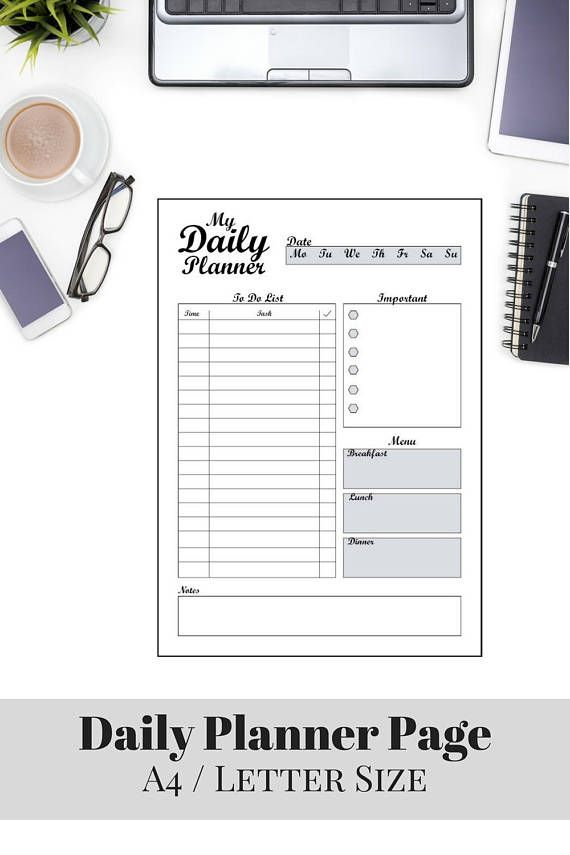 My Daily Planner Printable PDF, Life Planner, Organizer, Sizes A4 - downloadable daily planner