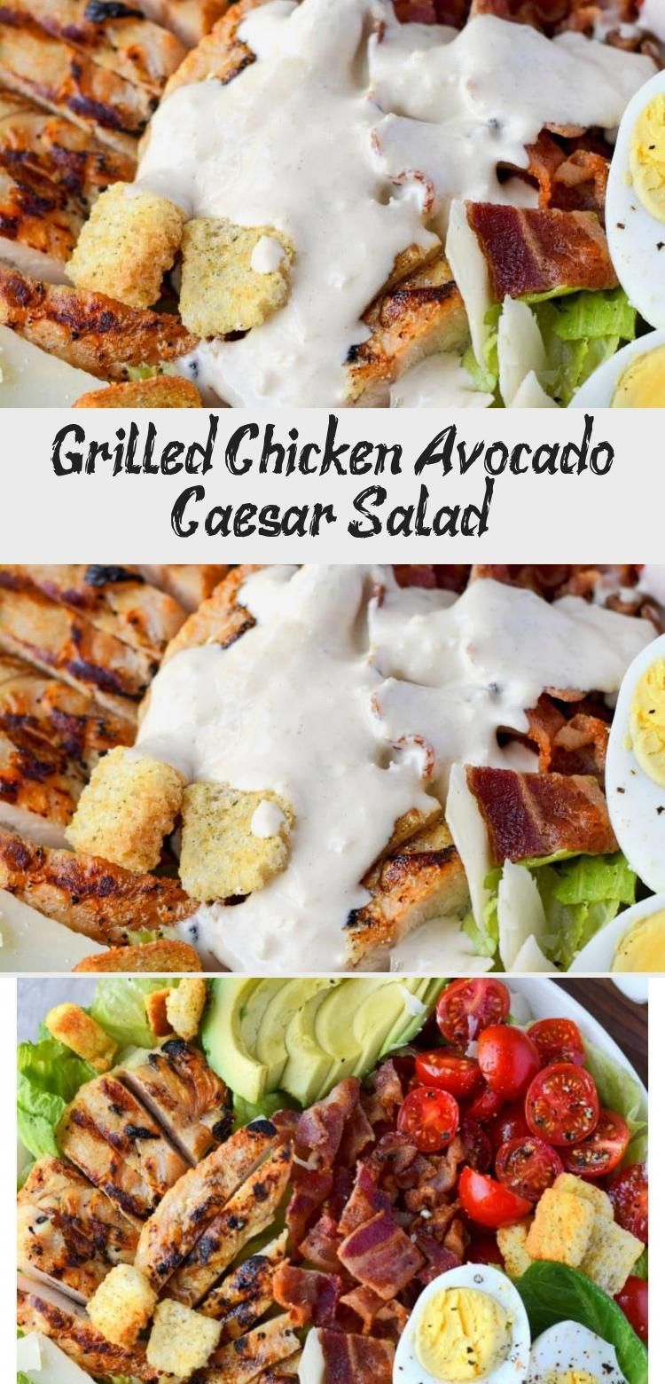 Grilled Chicken Avocado Caesar Salad - Nutrition #grilledchickenparmesan Chicken Avocado Caesar Salad is one of our favorites for a quick and easy meal. Grilled chicken, fresh avocado, crispy bacon, tomatoes and egg slices. Tossed in a homemade creamy Caesar dressing and topped with croutons and parmesan. #Beetsalad #Wintersalad #saladBuah #Thaisalad #Mexicansalad #grilledchickenparmesan Grilled Chicken Avocado Caesar Salad - Nutrition #grilledchickenparmesan Chicken Avocado Caesar Salad is one