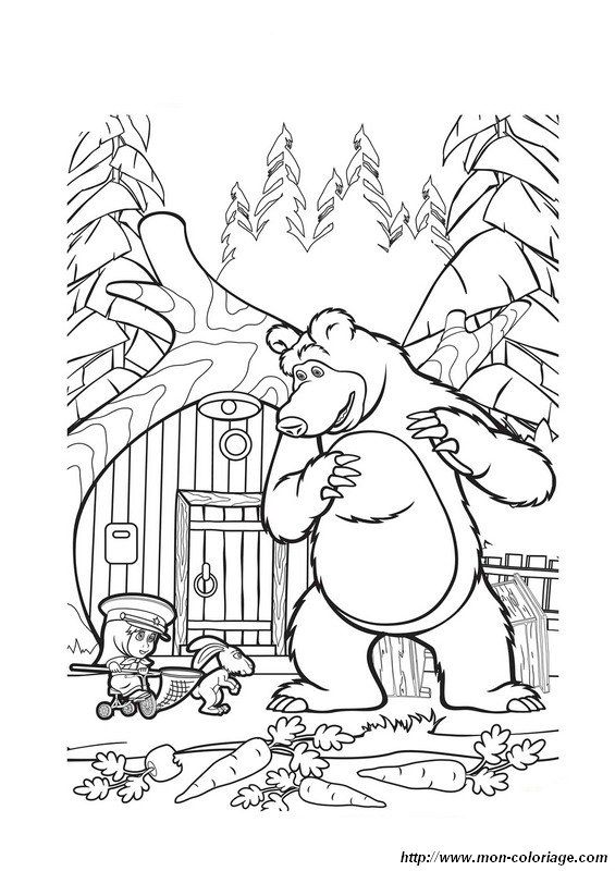 Masha and The Bear Cartoon Coloring Page Wallpaper HD | Proyek ...