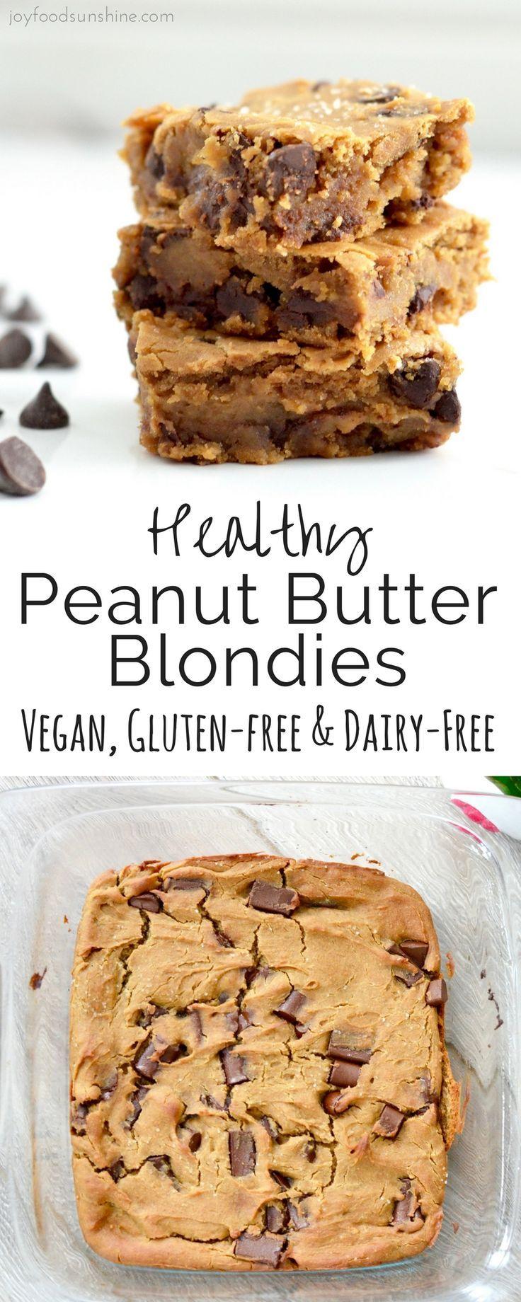 Gesunde Erdnussbutter Blondies! Die Verwendung von Kichererbsen macht diese Riegel zu einem Dessert, bei dem Sie sich gut fühlen können! Sie sind glutenfrei, milchfrei, raffiniert zuckerfrei und vegan freundlich #dairyfree