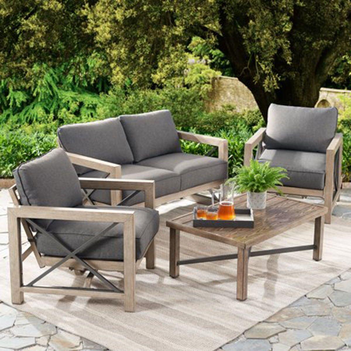 Patio Garden Patio Loveseat Patio Lounge Chairs Grey Cushions