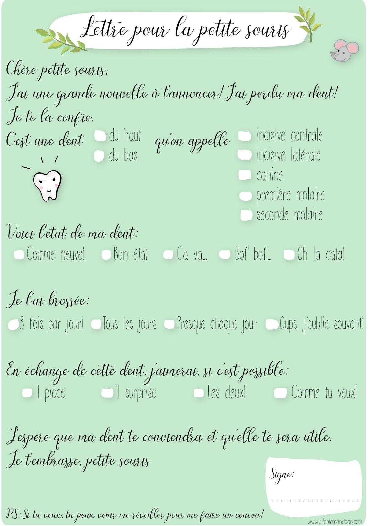 """Lettre """"Petite Souris"""" à imprimer (+ Kit complet) Allo"""