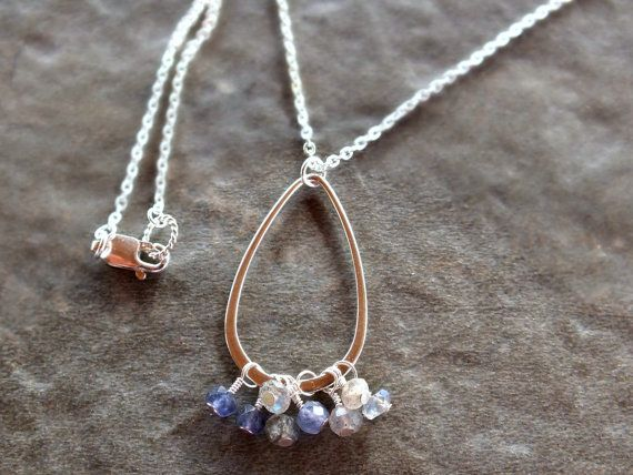 Sterling silver gemstone necklace iolite necklace by BirdandBeed