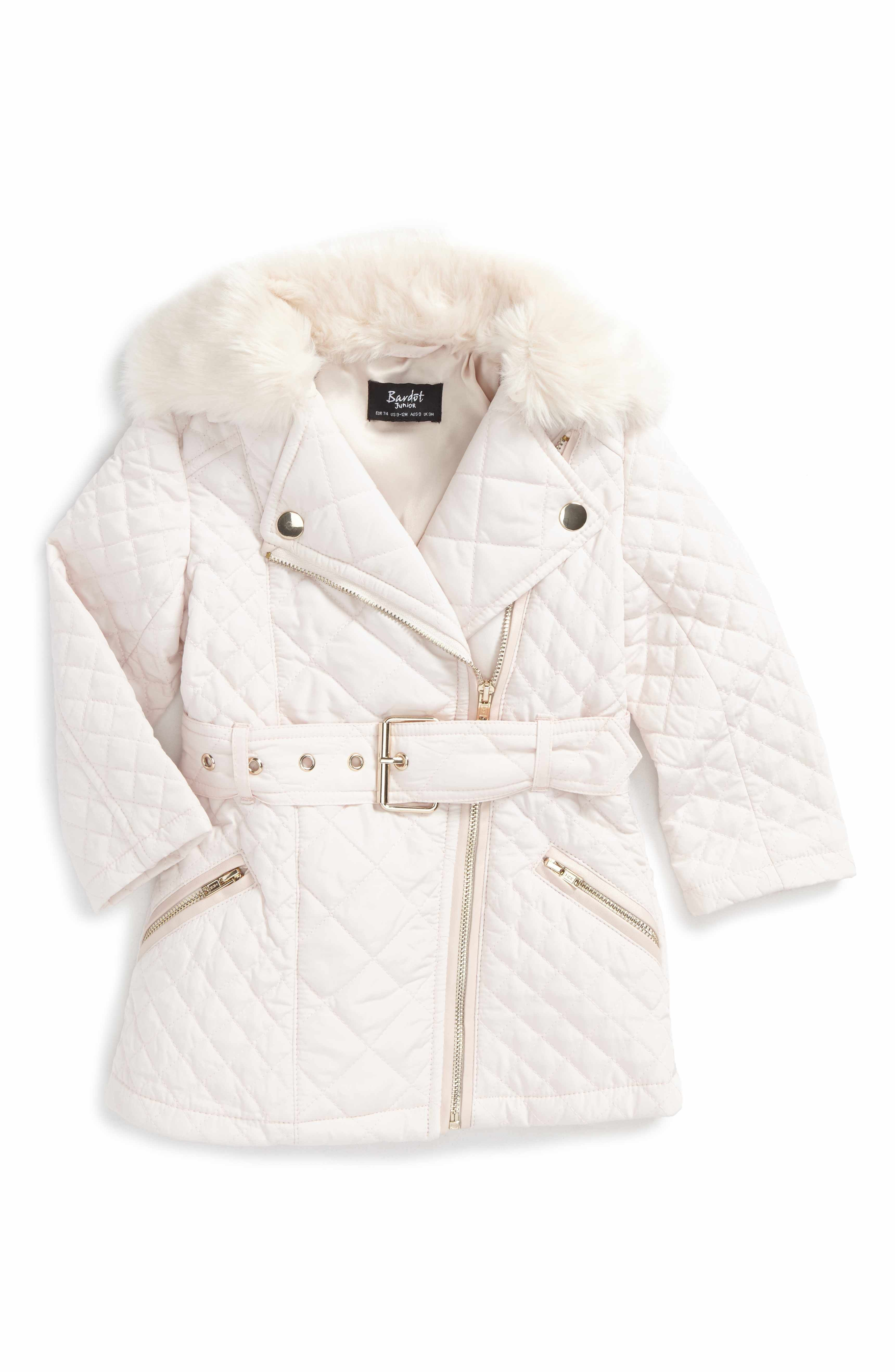 ca8fa90236fe Main Image - Bardot Junior Quilted Jacket with Faux Fur Collar (Baby ...