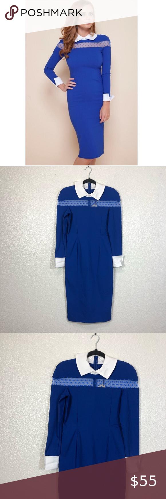 Tempest Lily Cobalt Blue Long Sleeve Retro Dress T