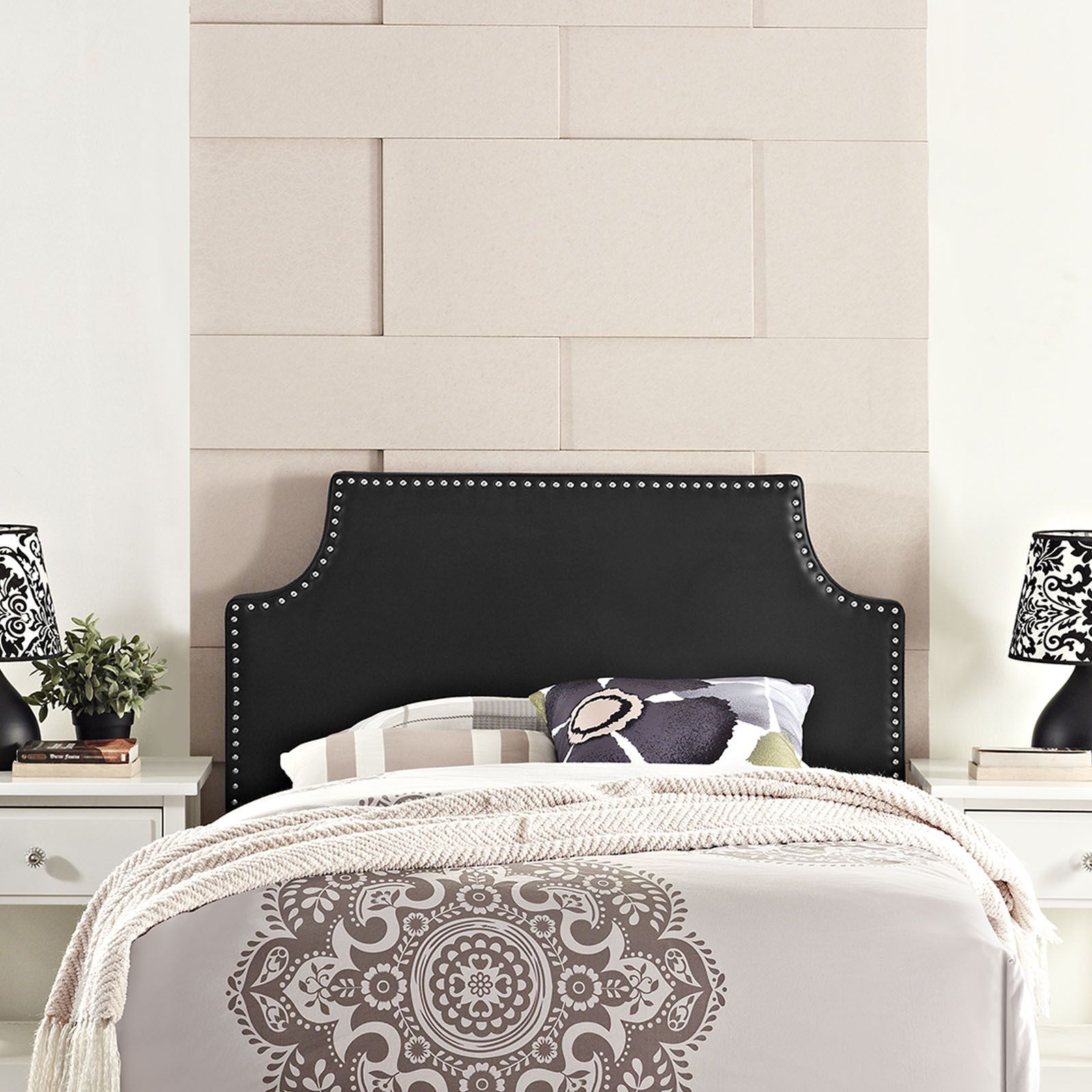 Laura Twin Vinyl Headboard, Black - Enhance your bedroom with the ...