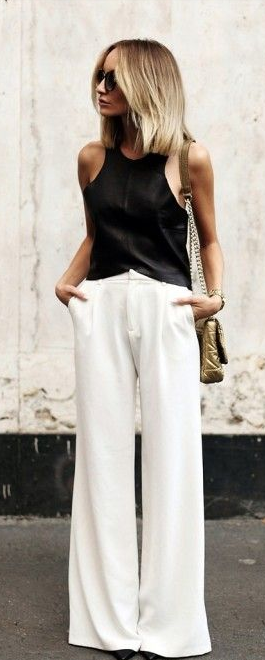 Black fitted silk tank + white wide legged pants