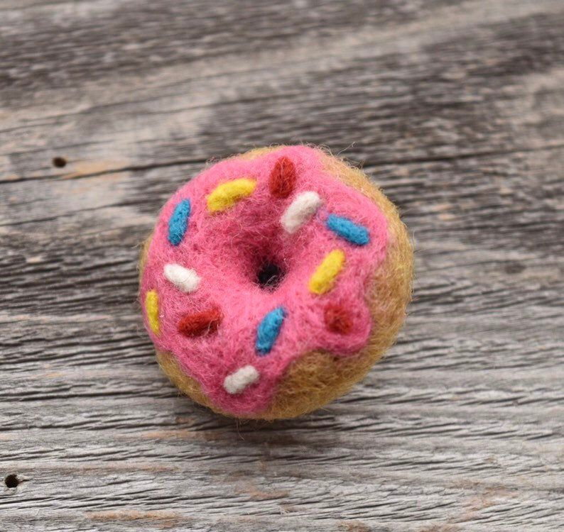 Pink Donut Pin, Needle Felted - 100% Wool Unique Accessory