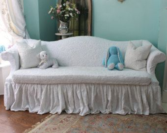 shabby chic sofa couch ruffle roses chenille bedspread slipcover vintage chic furniture white. Black Bedroom Furniture Sets. Home Design Ideas