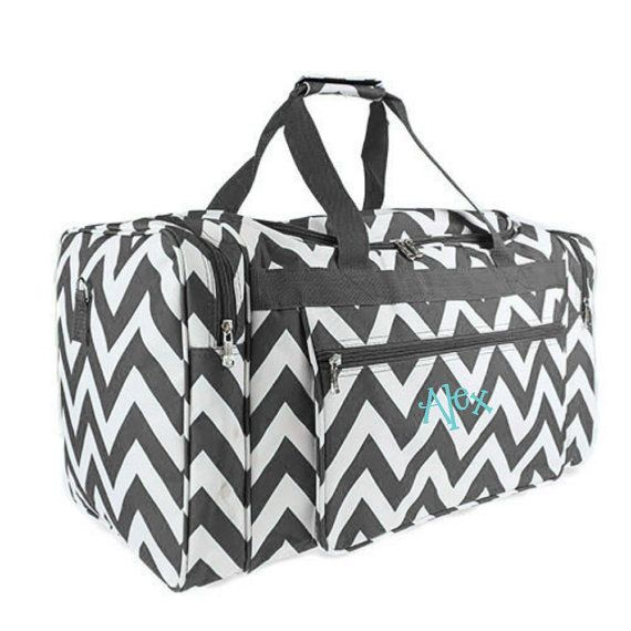 Chevron Duffle Bag Personalized Overnight Monogrammed
