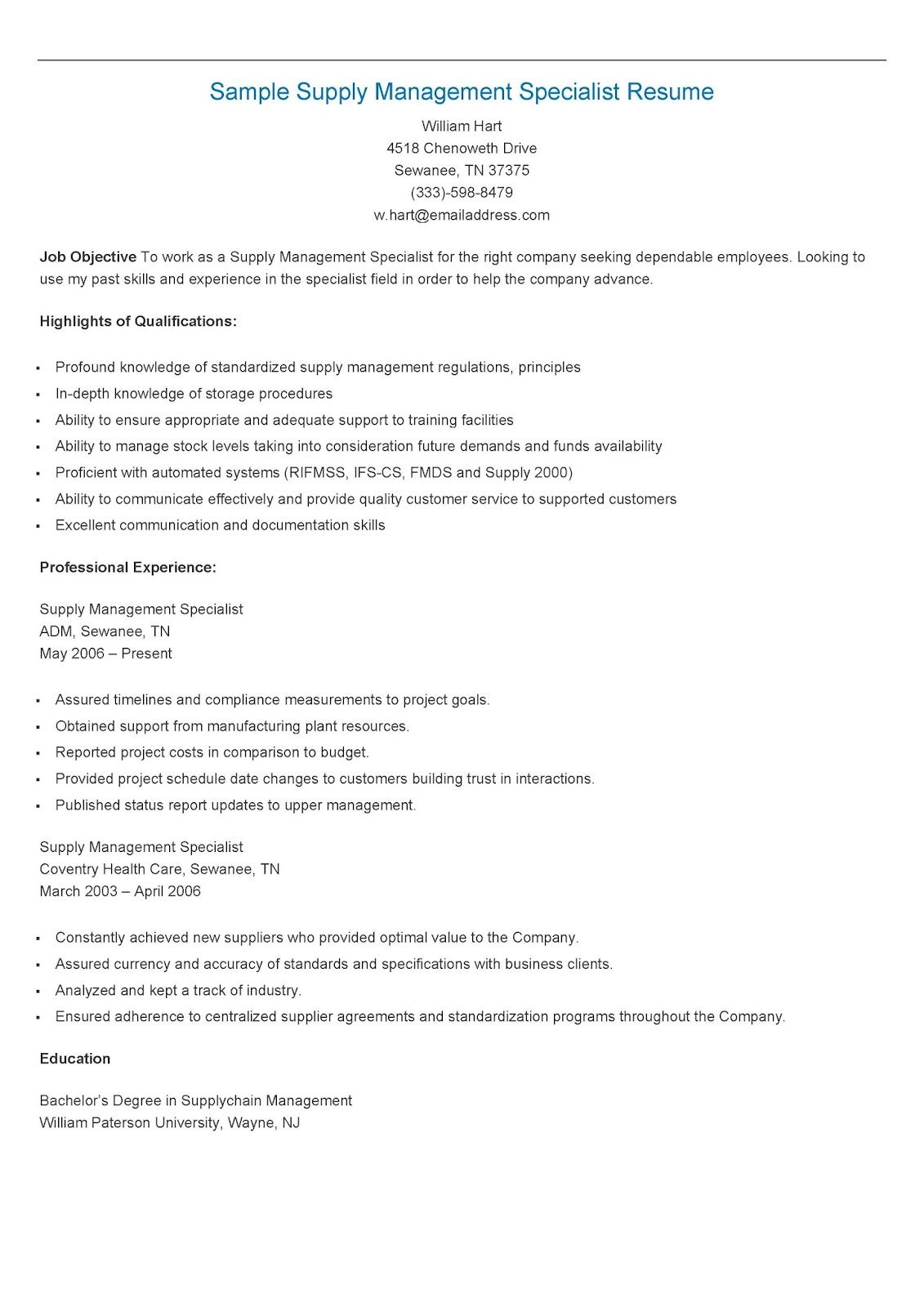 Sample Supply Management Specialist Resume Supply