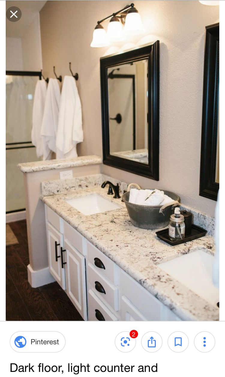 Off White Vanity With Light Countertop Dark Trim Around The Mirror And Dark Fixtures And Dr Modern Bathroom Cabinets Bathroom Remodel Master Bathrooms Remodel