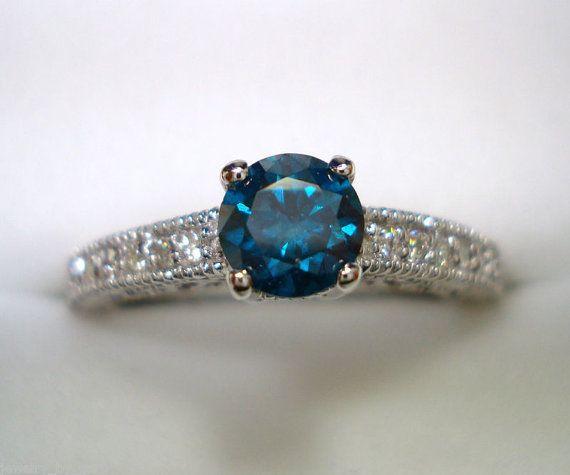 Fancy Blue & White Diamond Engagement Ring 14K by JewelryByGaro, $999.00