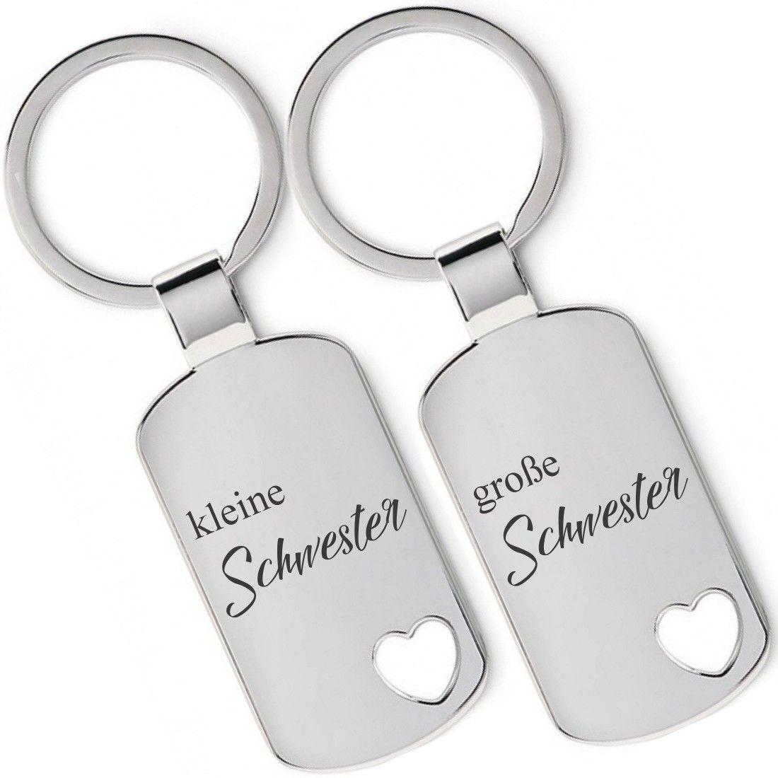 Lieblingsmensch Metall Schlüsselanhänger 2er Set   Kleine Schwester, Große  Schwester #Schlüsselanhänger #Gravur #