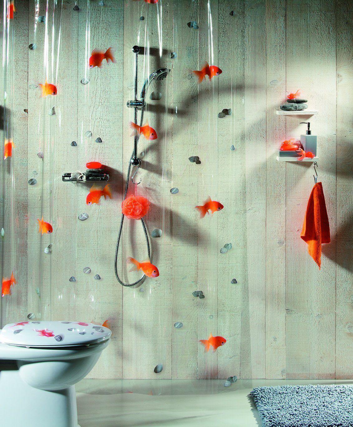 Spirella Goldfish Orange Plastic Shower Curtain 100 Pvc Transparent Orange 180 Cm X 200 Cm Amaz Personalized Shower Curtain Pvc Shower Plastic Shower Curtain