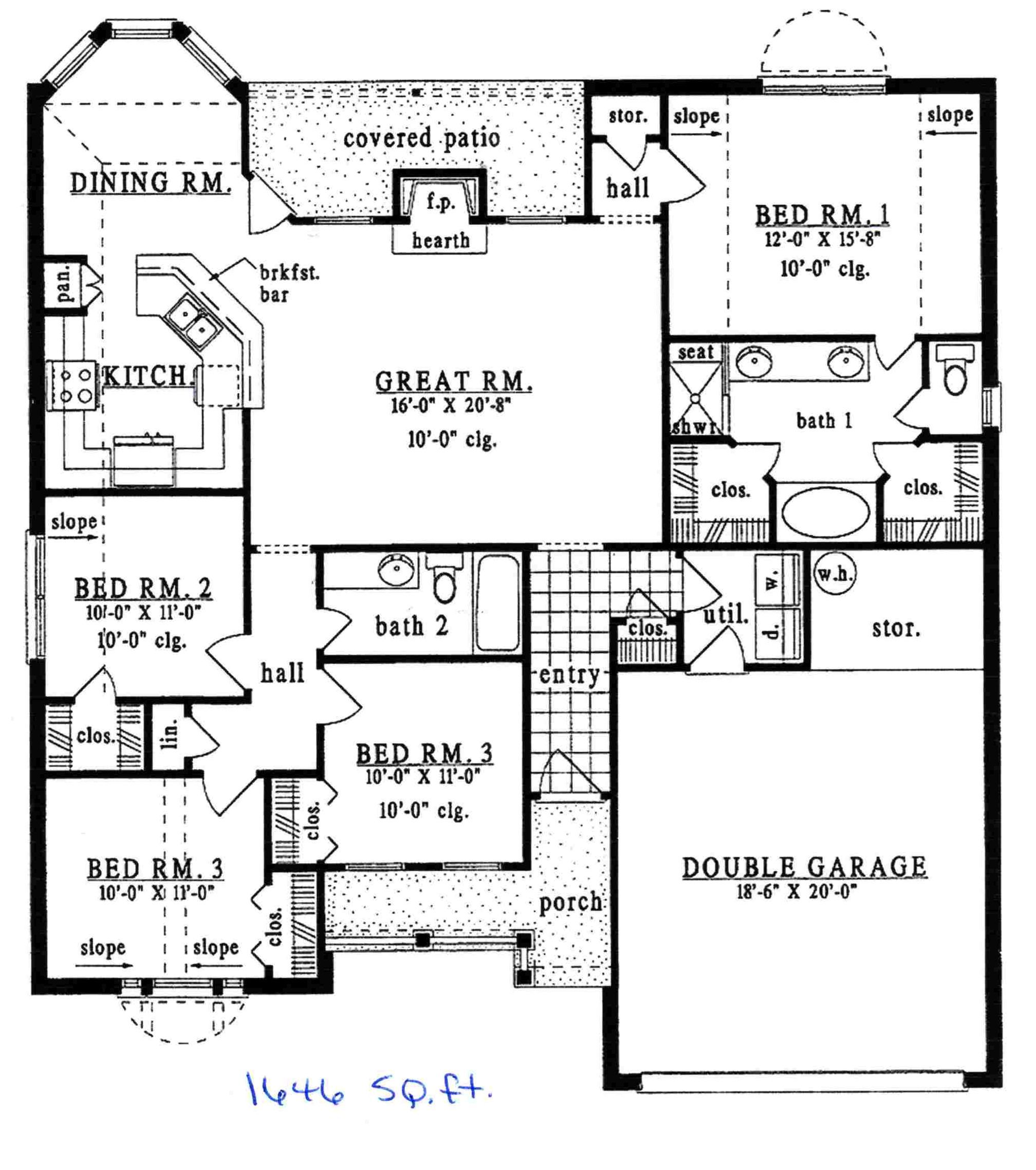 Ranch Style House Plan - 4 Beds 2 Baths 1646 Sq/Ft Plan #42 ... on 30 x 40 sq ft. house plan, 1800 sq ft ranch home plan, 1600 sq ft ranch home plan, hawaii cottage floor plan,