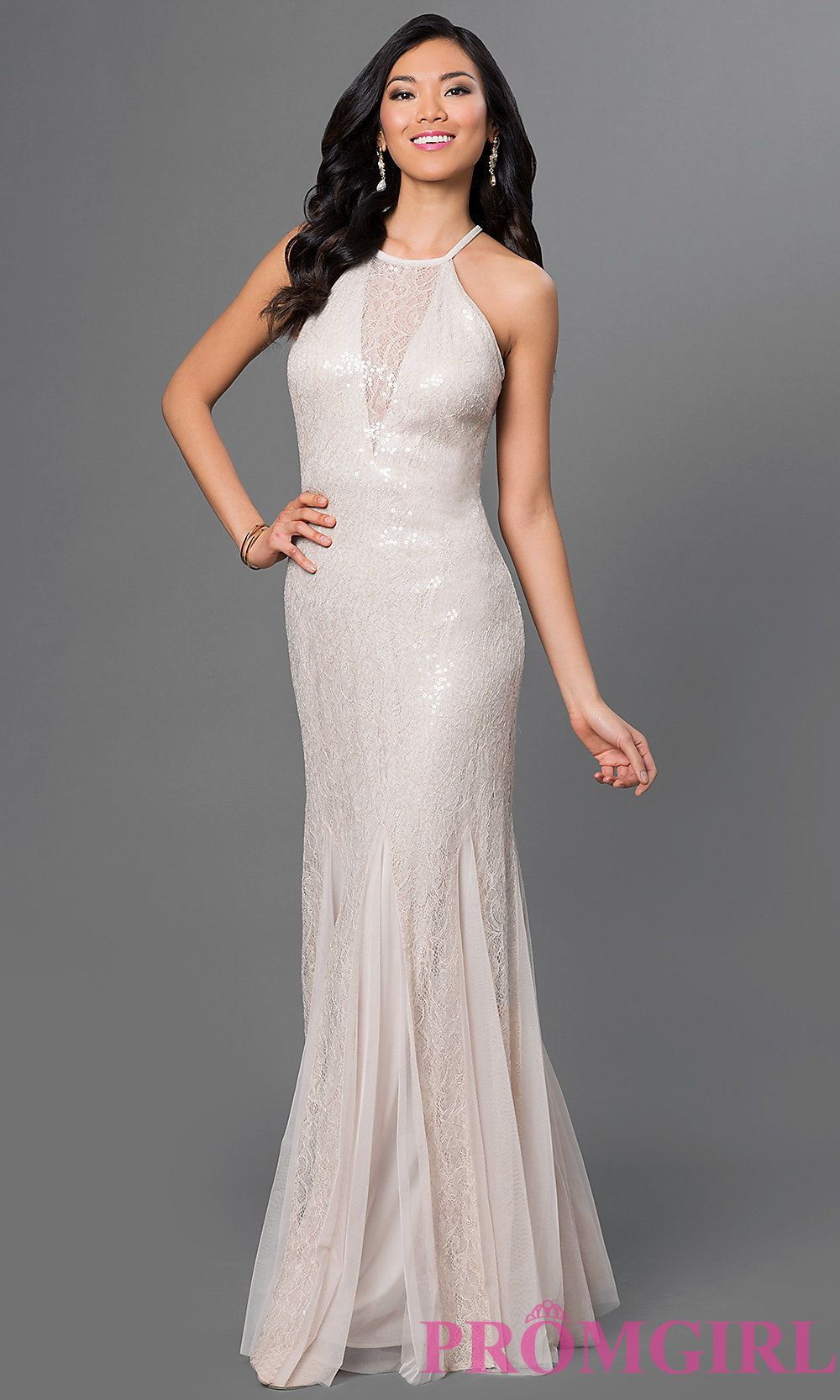 Image of beige lace and sequin long dress by xscape front image